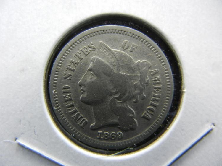 1869 3 cent nickel. Very Fine. Some Southern states readmitted.