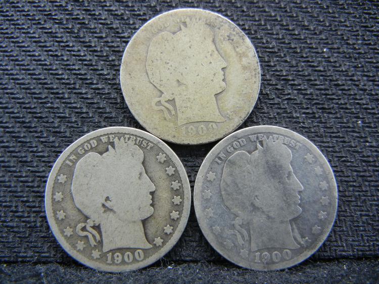 (3) 1900 Barber Quarters - 90% Silver