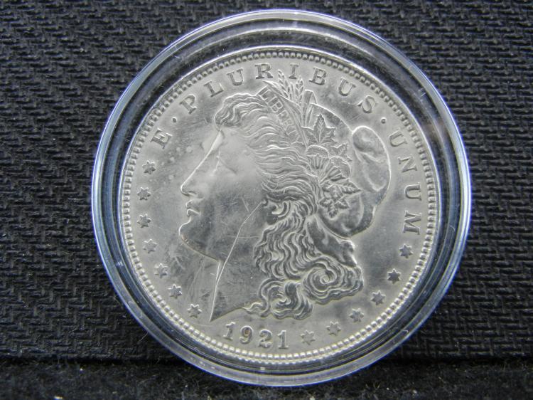 1921 Morgan Dollar in Case
