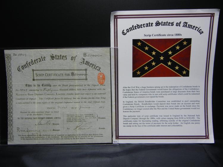 Confederate States of America 50,000 Bond Dated June 1, 1887