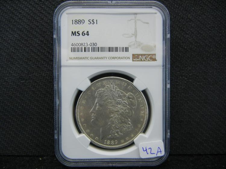1889 Morgan Dollar. Graded by PCGS as MS64.