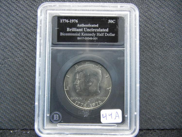 1976 Bicentennial Kennedy ½ Dollar. Authenticated Genuine. Brilliant UNC.