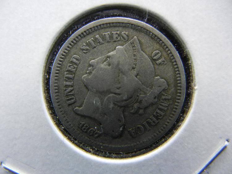 1867 3 cent nickel. Very Fine.