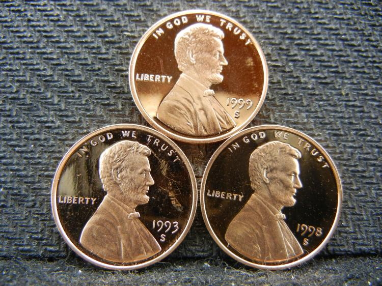 1993-S, 1998-S, 1999-S Proof Lincoln cents.