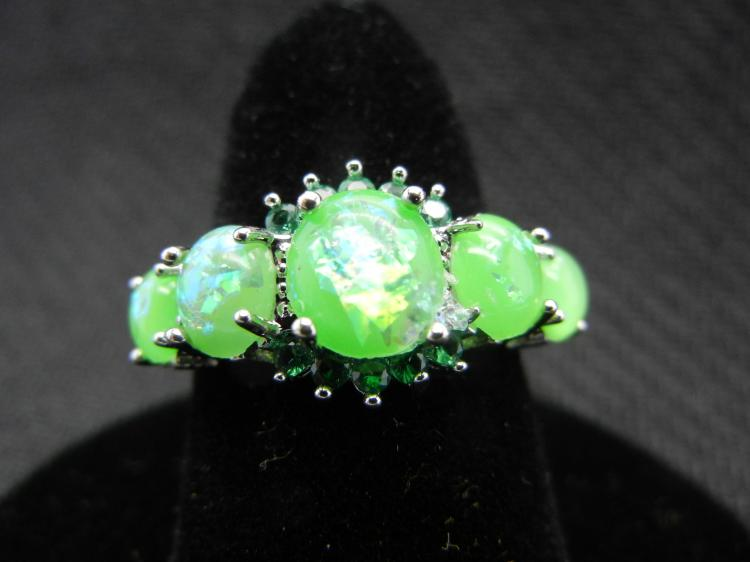Woman's Green Fire Opal Ring (Size 7). Beautiful, What a Great Gift!, New