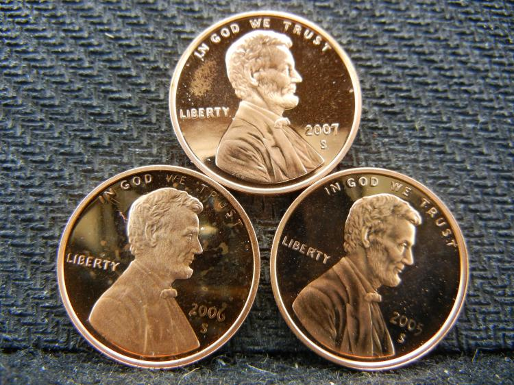 2005-S, 2006-S, 2007-S Proof Lincoln cents.