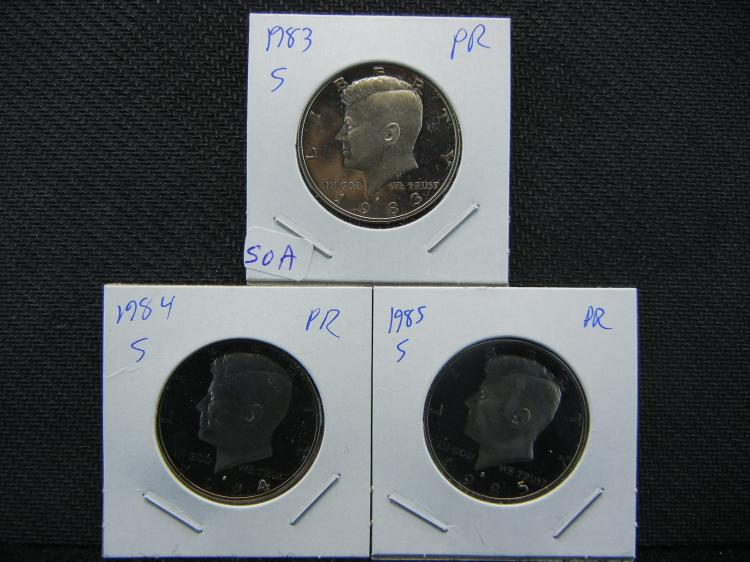 1983-S, 1984-S, 1985-S Kennedy ½ Dollars. Proof