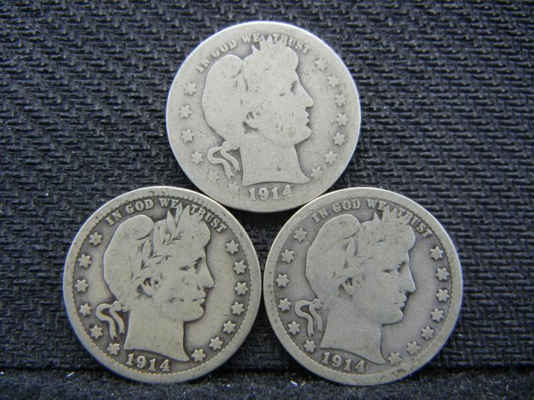 (3) 1914 Barber Quarters - 90% Silver