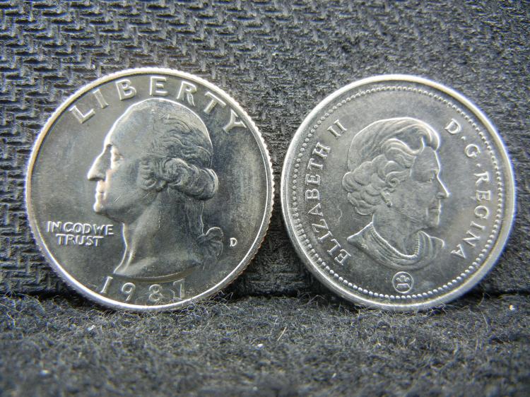 1987-D Washington & 2006 Canadian Quarters