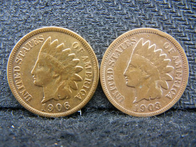 1903 and 1909 Rare Indian Cents. RED.