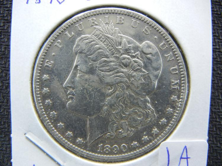 1890-CC Morgan Dollar. Highly polished detail.