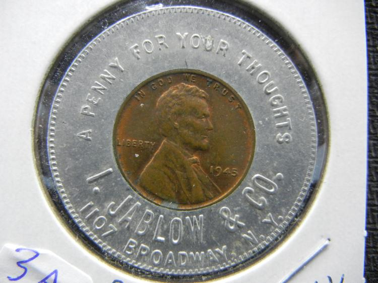 1945 Jablow & Co Ad Penny Token. Broadway, New York City.
