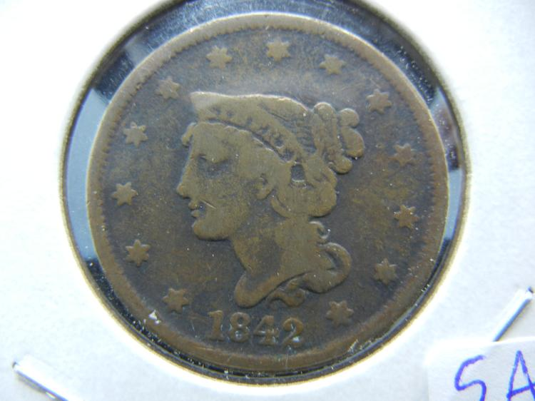 1842 Large cent. Fine. ROTATED 90 degrees.