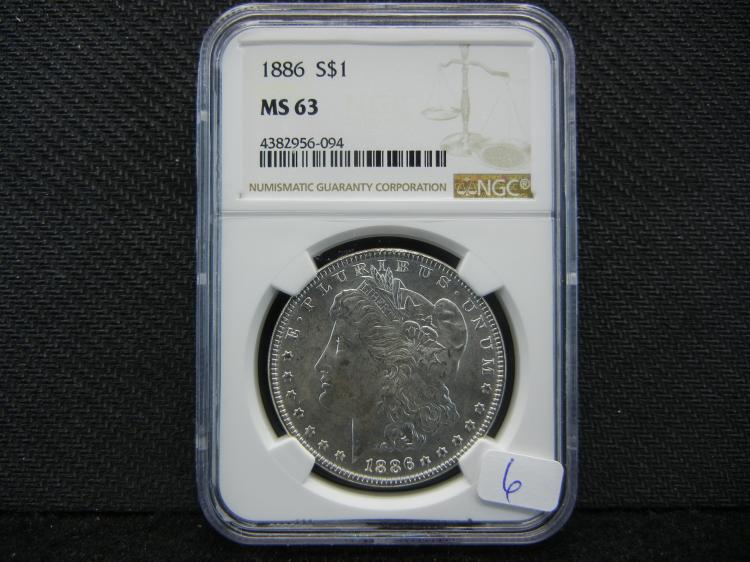 1886 Morgan Dollar. Graded by NGC (reputable graders).