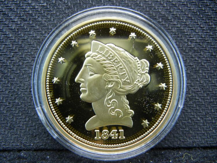 1841 2 ½ Goldish Dollar Proof Medal. Certified Authentic.