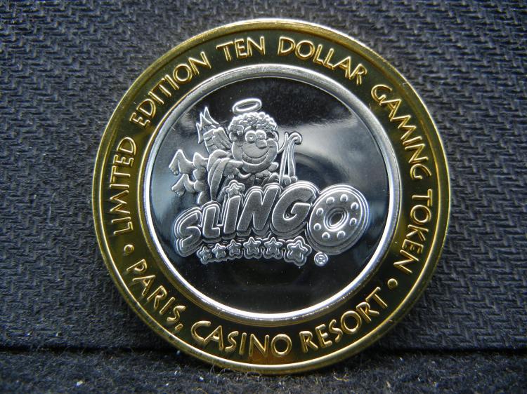 Las Vegas Paris Casino $10 Gaming Token. 999 silver center. Proof surface.