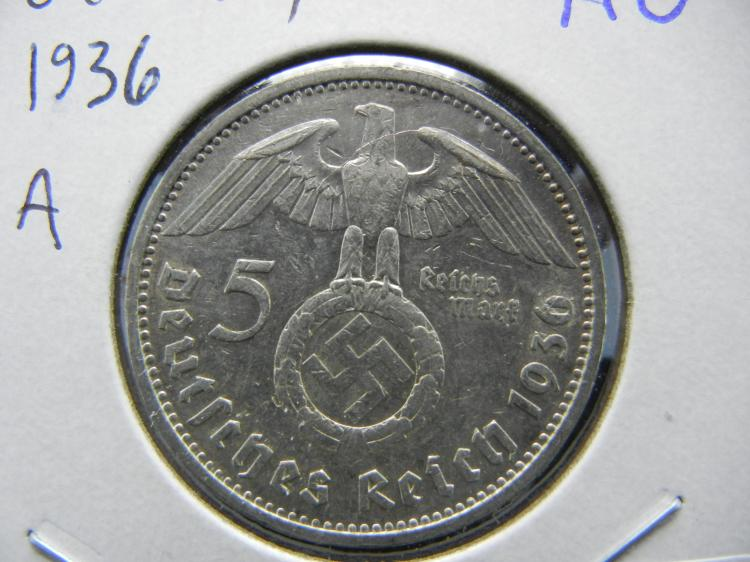 1936 A Germany 5 Reichsmark. Silver. Almost Uncirculated. Berlin Mint.