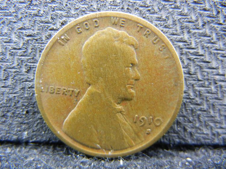 1910-S Wheat cent. Very Good. Semi-key.