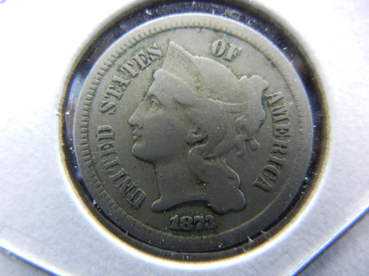 1873 3 cent nickel. Open 3. Fine.