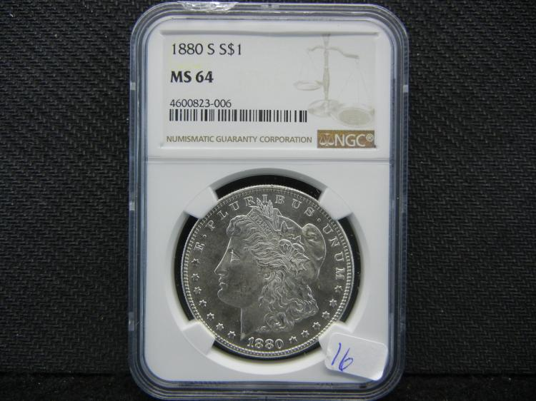 1880-S Morgan Dollar. Graded by PCGS (top graders) as MS64.
