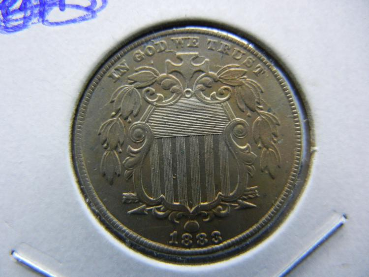 1883 Shield Nickel. Almost Uncirculated. Hard to find in this grade!!
