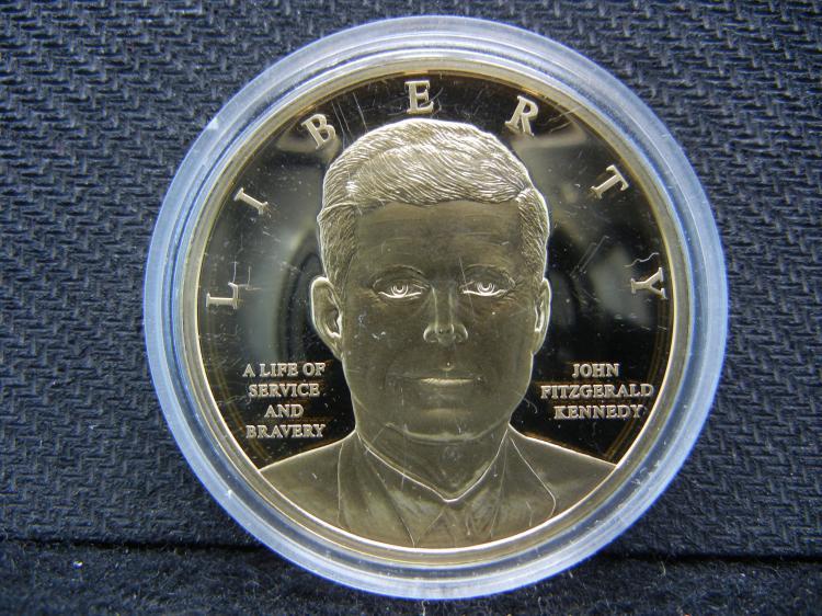 John F Kennedy Goldish Medal. 24K Layered.