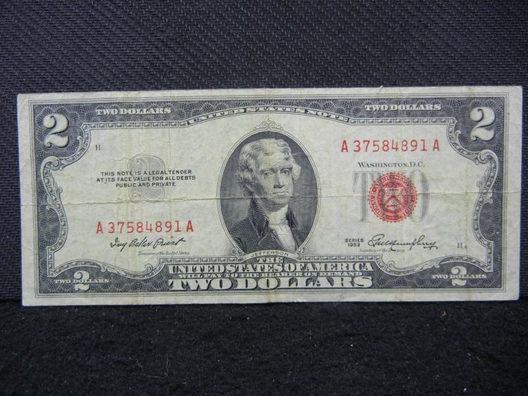 $2 Bill, (Series 1953) Red Seal!, Rare, 65 Years Old