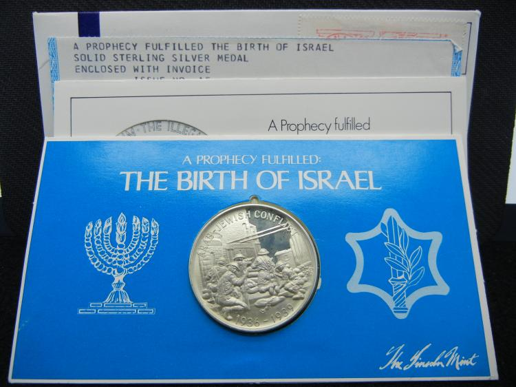 THE BIRTH OF ISRAEL, SOLID STERLING SILVER 1.3 OZ (92.5%), (Mintage Only 28,500), Purchased For $12.50 In 1974, (Proof Of Purchase & The Original Envelop From The Mint Included), SEALED!