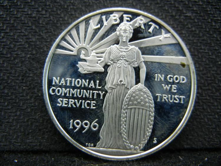 1996-S National Community Service Silver Dollar. Proof. Govt capsule.