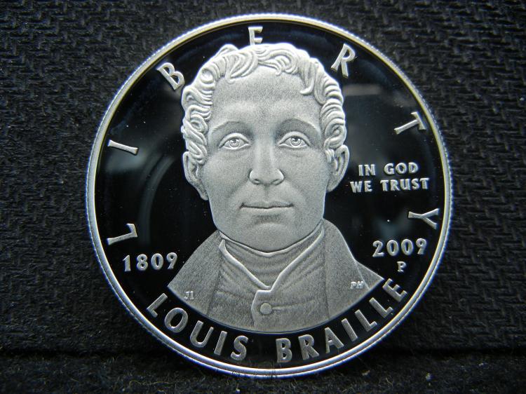 2009-P Louis Braille Silver Dollar. Deep Cameo Proof. Govt Capsule.