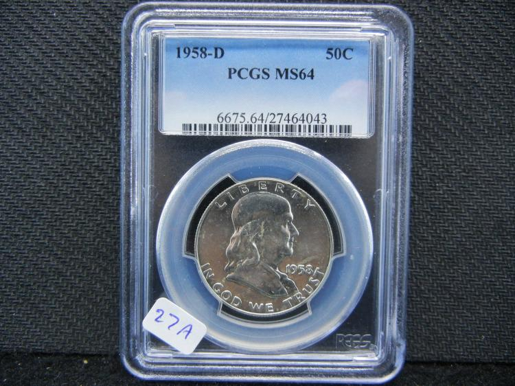 1958-D Franklin ½ Dollar. Graded by PCGS (top graders) as MS64. Tough date!