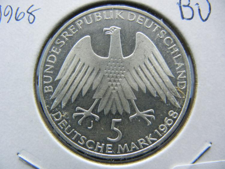 1968 Germany Silver 5 Mark. Cameo Brilliant Uncirculated.