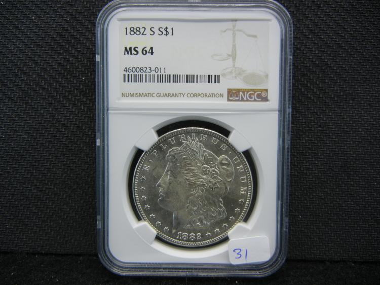 1882-S Morgan Dollar. Graded by PCGS (top graders) as MS64.