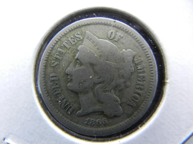 1866 3 cent nickel. Fine.