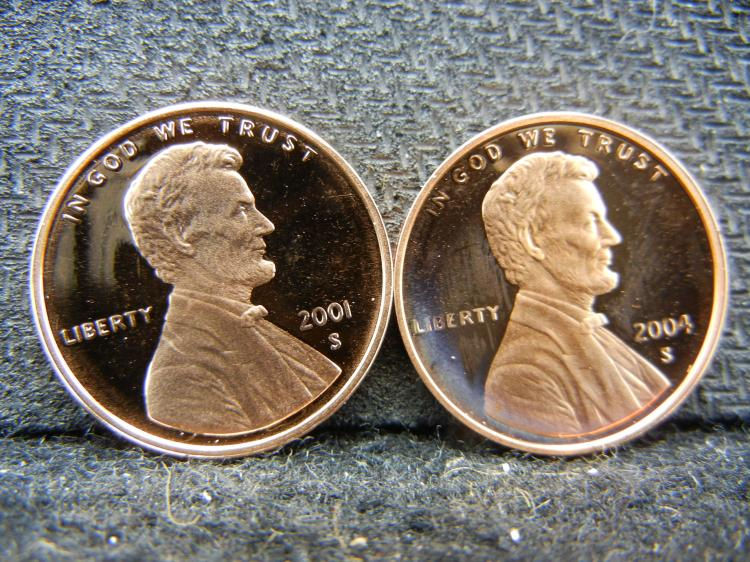 2001-S & 2004-S Gem Proof Lincoln cents.