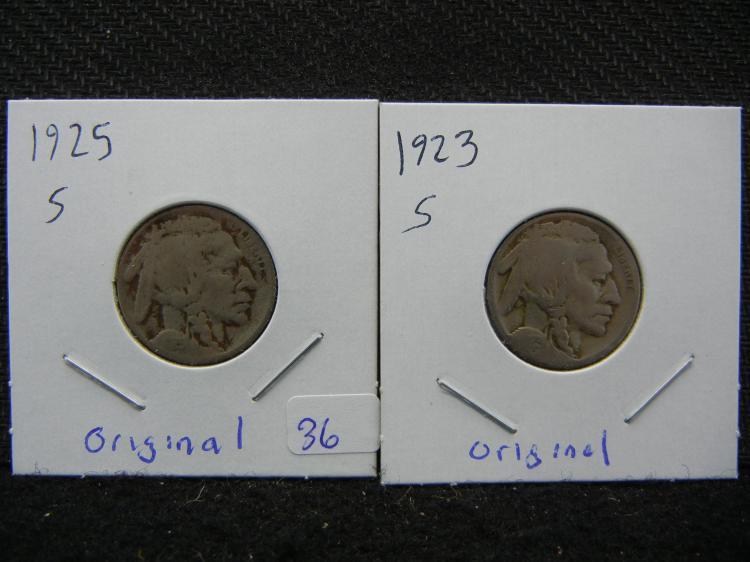 1923-S & 1925-S Buffalo Nickels. Original.