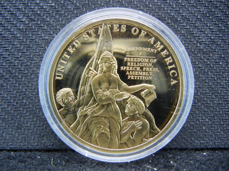 1st Amendment Statue Goldish Medal. Proof.
