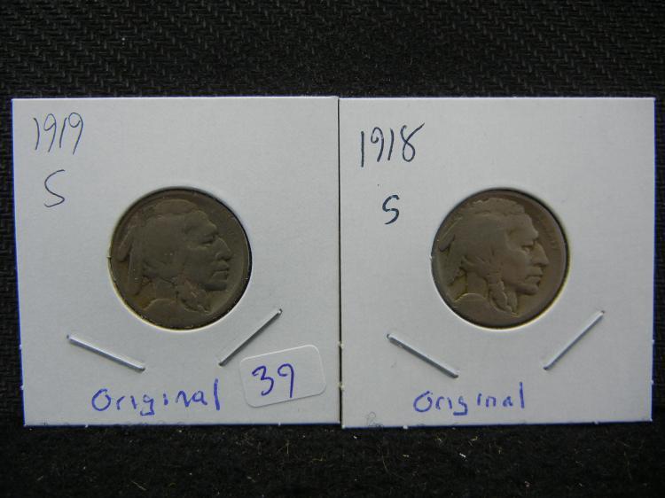 1918-S & 1919-S Buffalo Nickels. Original.
