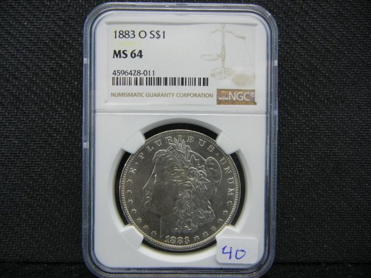 1883-O Morgan Dollar. Graded by PCGS as MS64.