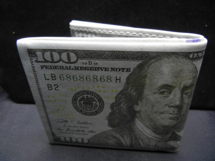 $100 Dollar Bill Wallet (Individual Compartments For Currency, Credit Cards, Zipper Compartment For Change, & A Spare Compartment), NEW, Perfect Gift!