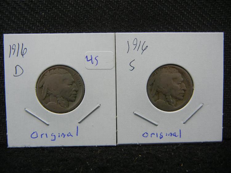 1916-D&S Buffalo Nickels. Original nice coins.