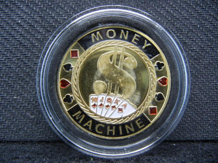 Las Vegas Poker Card-Guard, (MONEY-MACHINE), Gold Enhanced, Beautiful Mirror/Proof, Encapsulated For Future Preservation!
