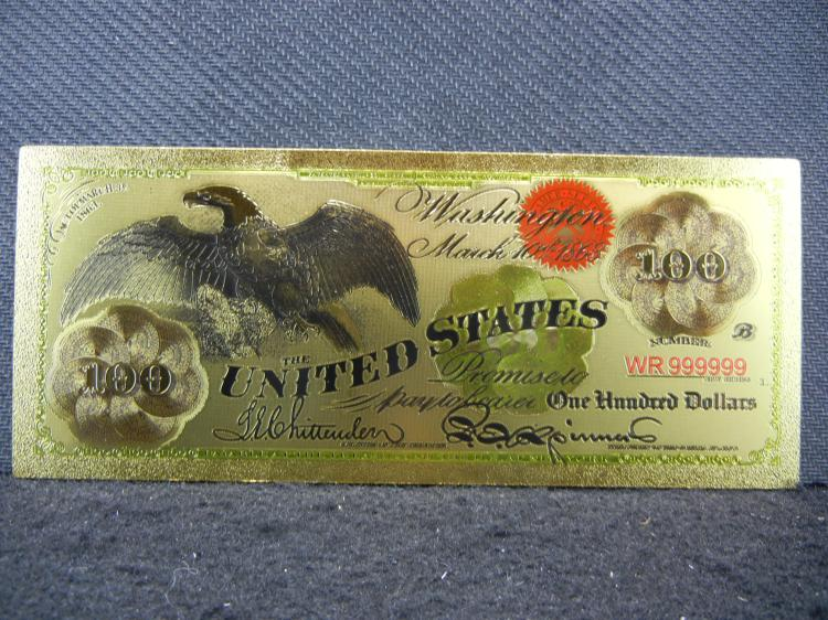 March 10th 1863 $100 Bill, Layered In Pure 24K Gold (82 Grains), Not Legal Tender, Mint!
