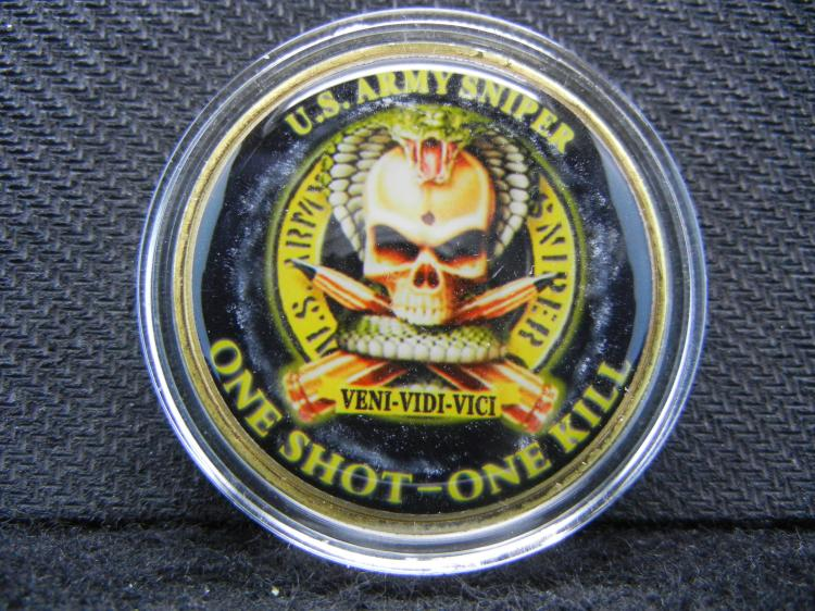 US Army Sniper (ONE SHOT-ONE KILL), Gold Enhanced, Beautiful Mirror/Proof, Encapsulated For Future Preservation, Great Gift!
