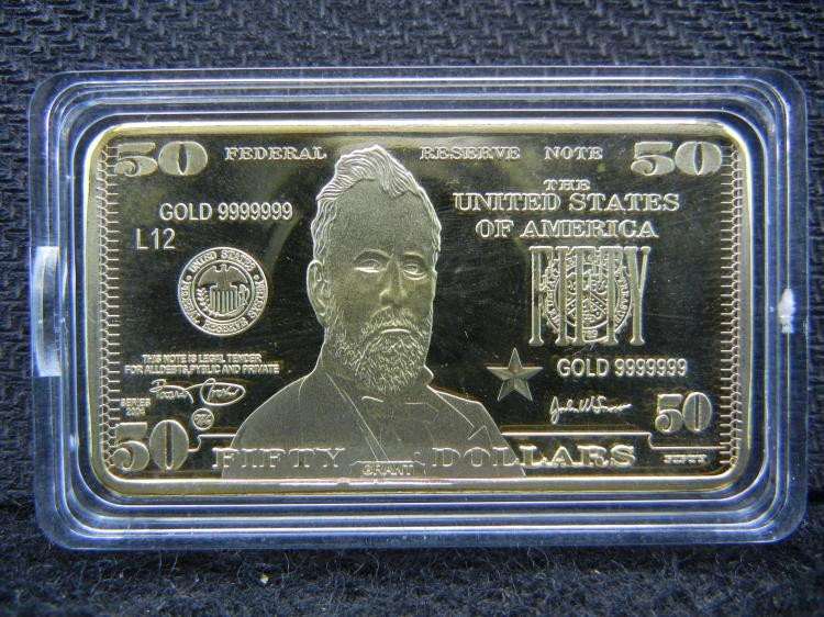 $50 Dollar Bill, 999 Gold Bar, Clad, Incredible Mirror/Proof! What an Amazing Gift This Would Be! Not Legal Tender, Encapsulated For Future Preservation