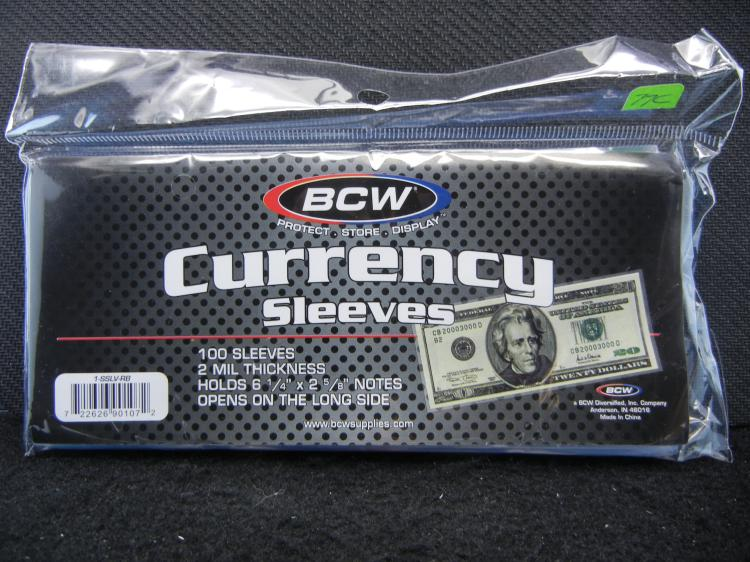 100 Currency Sleeves, 2 Mil Thick, Sealed In Pack, New!