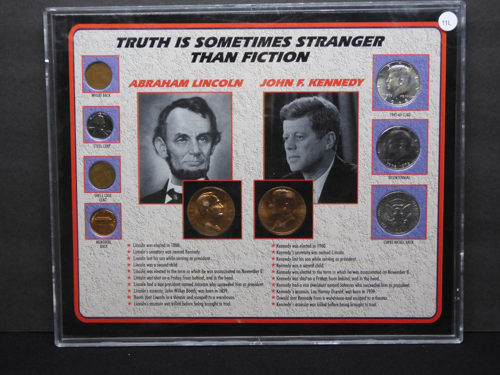 """Kennedy Lincoln """"Truth Is Sometimes Stranger Than Fiction"""" Assassination Fact Set."""