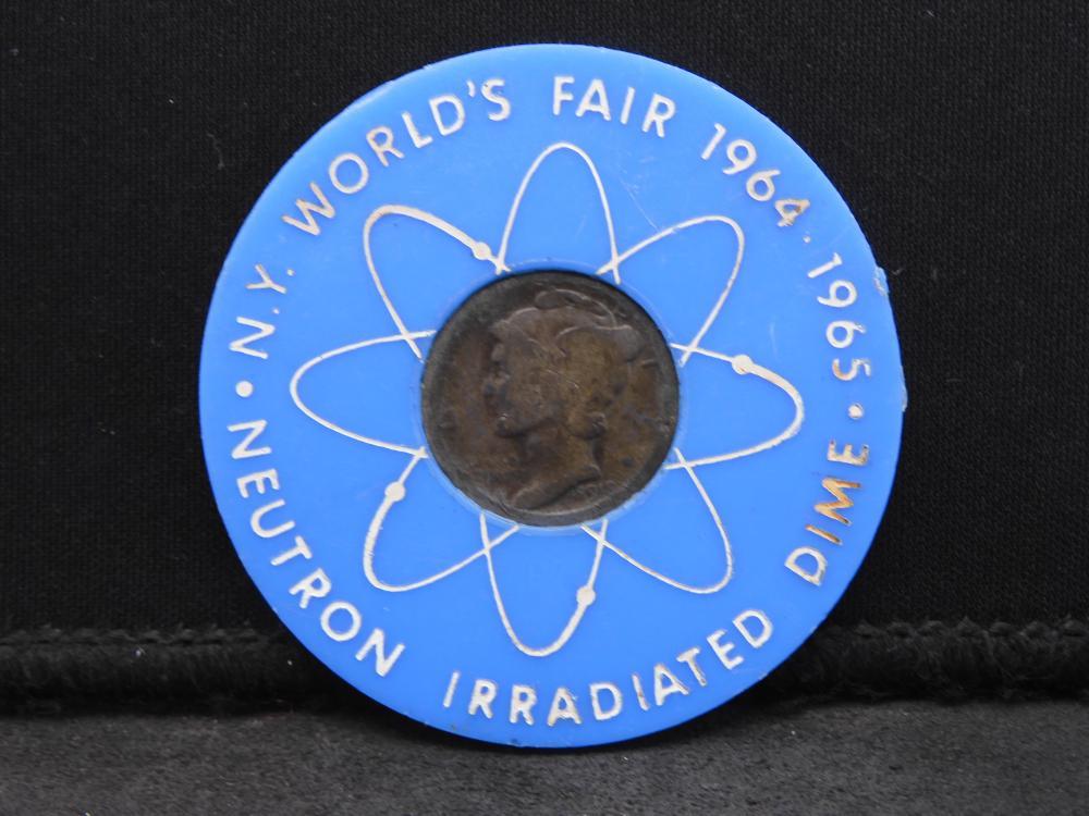 Neutron Irradiated Dime From New York's World Fair 1964-1965. Dime Dated 1918.
