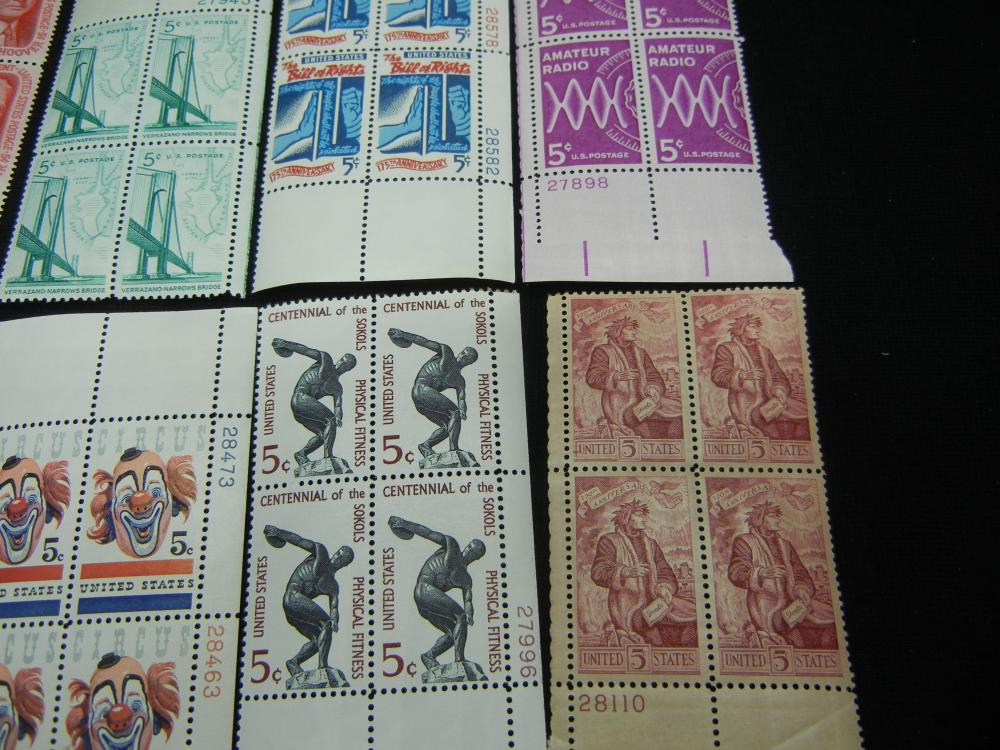 10 US Plate Blocks Vintage Unused US Postage Stamps