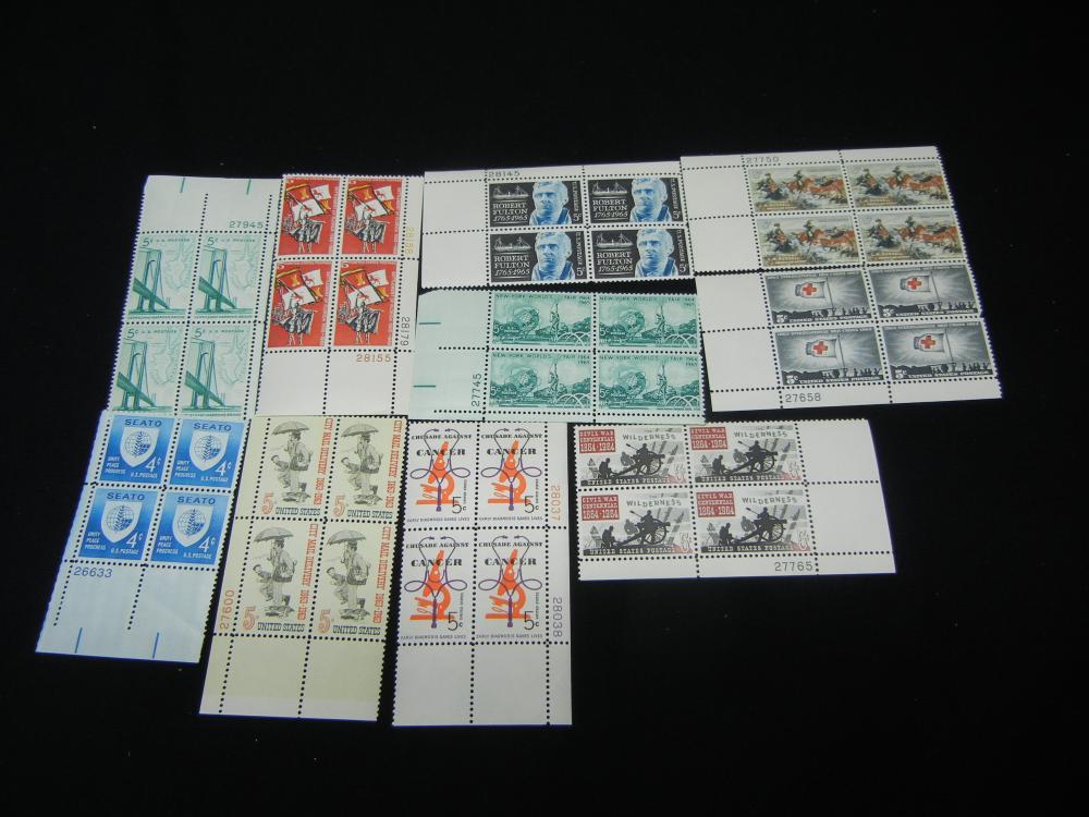 (10) US Plate Blocks Vintage Unused US Postage Stamps